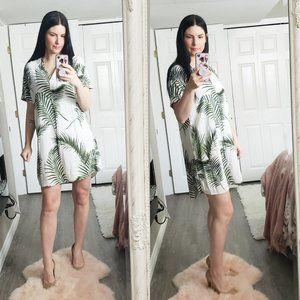 H&M * Fern Palm Leaf Plant Print Boho Dress * Sz 4